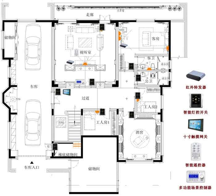 一、智能家居概念 智能家居(英文:smart home, home automation)是以住宅为平台,利用综合布线技术、网络通信技术、 安全防范技术、自动控制技术、音视频技术将家居生活有关的设施集成,构建高效的住宅设施与家庭日程事务的管理系统,提升家居安全性、便利性、舒适性、艺术性,并实现环保节能的居住环境。 二、系统模块 灯光控制、电动窗帘、安防系统、远程控制系统、背景音乐系统、家电控制、门禁系统、中控,功能模块集中,大幅提高性价比 三、智能别墅安防联动(可自定义布防) 当安防系统触发,背景音乐警